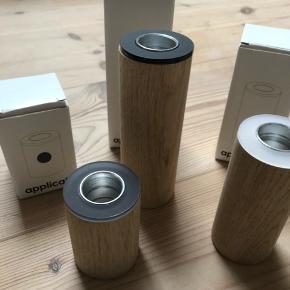3 lysestager i mærket Applicata sælges samlet. Nypris samlet er 530 kr. Aldrig brugt og stadig i kasser. Køber betaler fragt.