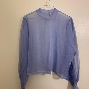 Blå gennemsigtig glitter bluse fra Zara aldrig brugt