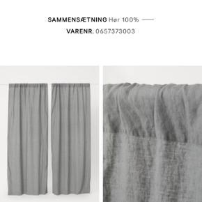 Lækre gardiner i vasket hør fra h&m-home. De er lagt op, så de er 120 cm brede og 110 cm lange.  Nypris 699