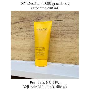 NY Decléor - 1000 grain body exfoliator 200 ml.   Pris: 1 stk. NU 140,-  Vejl. pris: 310,- (1 stk. tilbage)   Se også over 200 andre nye produkter, som jeg har til salg herinde :-)