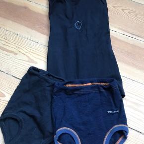 Lækkert økologisk  undertøj fra Dilling. Der er 1 undertrøje, der kun er brugt et par gange og 2 par blebukser, der henholdsvis er nye og brugt 1 gang. Umdertrøjen og et par blebukser er i blød økologisk bomuld og str 86, blebukserne i 100% økologisk merinould er str 80.