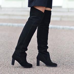 OTK støvler i ruskind fra H&M premium. Hælhøjde: 8 cm