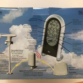 BIOS trådløs vejrstation med vind - og regnmåler. Aldrig brugt. Fri levering i København / Frederiksberg.