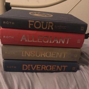 Hele Divergent serien på engelsk. Jeg har alle sammen et par gange. Super fede bøger (personligt synes jeg de er MEGET bedre end filmene ;)). Kan sælges hver for sig 90 kr. stykket eller samlet for 300 kr. Jeg har betalt omkring 350 kr. pr. bog :) Der er lidt mærker på 2'eren, som billedet viser, men INGEN skrammer, som gør læsningen dårligere, dog sælges den til en 50'er.