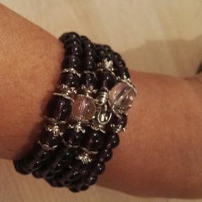 smukkeste 4 lages armbånd med ægte amethyst ædelsten kraftig  beskyttelses krystaller 65 kr