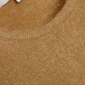 Obs mærket L, men jeg synes den er for kort og stram til L, så har sat den som medium. Sælger oga graviditet. Super fin InWear pullover i lækker blød uldblanding og smuk brun farve. Trøjen har en lækker minimalistisk udtryk med fin rund halsudskæring og bred ribkant i ærme og talje.  34% Uld  34% Mohair  27% Polyamid  5% Elastan  Håndvaskes