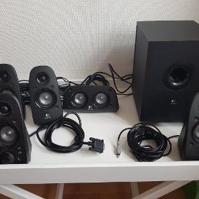 5.1 højtaler system sort fra Logitech. Brugt til computer, virker som de skal. ( SENDER IKKE )