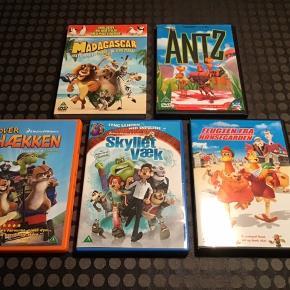 9 DVD film fra bl.a. Dreamworks sælges samlet for 100 kr.  Madagascar Over Hækken Skyllet væk Antz Flugten fra hønsegården Stuart Little 1+2 Space Chimps Charlie og chokoladefabrikken