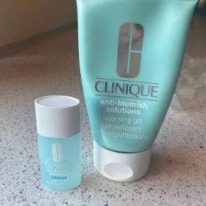 Clinique Anti-blemish solutions hudpleje. Består af cleansing gel (125 ml) og clearing gel (15 ml).  Til uren hud.  Der er brugt ca 1/2 af clearing gel og ca 1/4  af cleansing gel.   Køber betaler fragt  Tager ikke retur :)