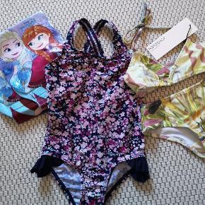 Ny bikini fra popupshop. Fin badedragt fra Name-it, brugt sparsomt. Frost badevinger, brugt 2 gange, fejler intet.