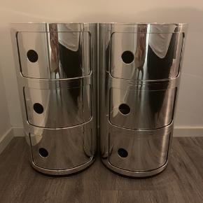 2 stk. Kartell Componibili opbevaringsmøbel - 3 rum - krom 700kr stk - ialt: 1500kr