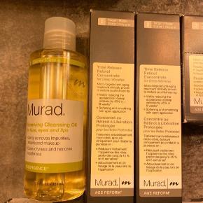 Hudpleje produkter fra det anerkendte mærke Murad sælges. Alt er nyt og ubrugt.  Prisliste (bud er velkomne)  Fra øverst venstre:  Renewing Cleansing Oil: 100,-  Time Release Retinol Concentrate: 225,-  Intensive Resurfacing Peel: 225,-  Recovery Treatment Gel: 150,-   Transforming Powder Cleanser & Exfoliator: 150,-  Rapid Collagen Infusion for Lips: 150,-  Essential C-Sun Balm: 115,-   Kan hentes i Ørestad Syd/Amager eller sendes med DAO på købers regning. Handler gerne med Tradono/Trendsales handel.