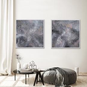 Nye malerier i flot sølv ramme, med målene 89 x 89cm (med ramme). Malet med akryl og spray 🎨 Grå sølv sort hvid guld lyserød Pris er uden forsendelse. Tager også imod bestillinger efter egne farve- og størrelsesønsker 🍭🙏🏽 ROAR