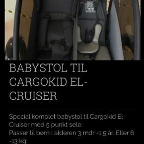 """Baby """"indsats"""" til cargokids elcruiser.   Brugt til en enkelt barn - har været i brug 5-6 gange, så fremstår som ny."""