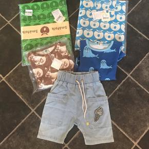 2 langærmet bluser1 par shorts 2 sæt junior sengetøj Tøj str 3-4 år
