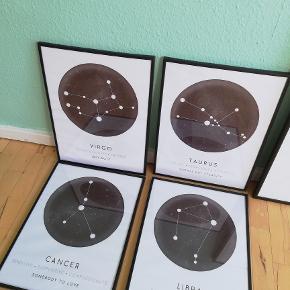 Plakater sælges uden rammer - 100 kr. pr stk. Stjernetegn - de fleste haves.