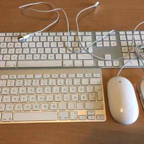 Bluetooth trådløs tastatur Apple A1644 indbygget batteri oplades med Apple lightning kabel 550kr. Billeder mangler, men kan sende til dig.   Keyboard Apple A1314 Bluetooth trådløs tastatur 350kr. Nypris 849kr. Perfekt stand uden fejl.   Apple Magic Mouse A1296 Bluetooth trådløs 250kr. Nypris 679kr. Perfekt stand uden fejl. Solgt!  Keyboard Apple A1243 tastatur med kabel 250kr. Med 2 USB indgangsporte på tastaturet så du kan lade mobilen eller andet. Perfekt stand uden fejl. Solgt!  Apple mus A1152 med kabel 80kr. Optical LED. Perfekt stand uden fejl. Solgt!  Apple mus M5769 med kabel 80kr. Optical LED. Perfekt stand uden fejl.