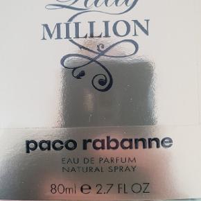 Helt ny og uåbnet parfume fra Paco Rabanne, lækker duft Lady million, eau de parfume, 80ml  Ny pris i butikkerne 750kr  Sælges for 445,- (er uåbnet)