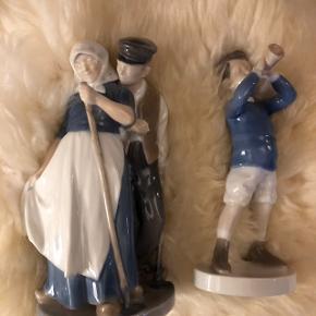 De 2 kongelige figurer dreng m. trompet samt bondepige m. dreng. Begge figurer fejler ikke noget. SOLGT 2 høje skulpturer kvinder meget flotte fejler ikke noget.  Jule uro fra 1998 350,00 kr. SOLGT  Giv nogle realistiske bud.