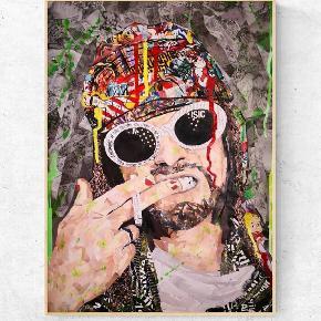 KURT COBAIN   Art by Bisse. Collagekunst.   Sælges som print i lækkert 170 g. papir. (uden ramme)  300 kr. for afhentning i Århus/360 kr. for afsendelse. A2. (420x594 mm)   💥Følg gerne min instagram artbybisse, som bliver opdateret løbende. 🙂  💥http://www.facebook.com/artbybisse  Tags: kurt cobain, kunst, plakat, poster, Urban, artbybisse, graffiti, collage