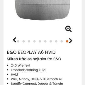 """B&O højttaler """"Beoplay A6 hvid med lysegrå stofcover. Står som ny. Nypris lige nu 5999"""