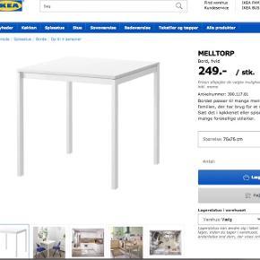Sælger dette spisebord med målene 75x75cm fra IKEA, det er kun få måneder gammelt. Ingen fejl eller slidmærker. Køberen henter selv bordet 😊