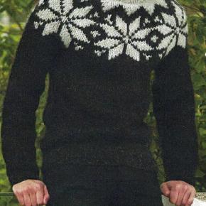 Brand: FruStrikVaretype: Herresweater, Stjernesweater, Islandsk sweater, Trøje, uldsweater, Fru Strik Størrelse: M/L - XL Farve: Mange  Trendy og smart herresweater med store stjerner - håndstrikket i 100% ren islandsk uld - Bulky lopi. Der er mange andre farver at vælge imellem. Se farvekort.    Denne sweater er også rigtig flot med bundfarven helt op til hals og kun stjernerne i en anden farve, som vist i damemodellen.      Strikkes på bestilling i størrelse: M/L og XL    Passer brystvidde: 99 - 113    Modtager MobilePay