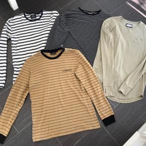 Super udsalg.... Jeg har ryddet ud i klædeskabet og fundet en masse flotte ting som sælges billigt, finder du flere ting, giver jeg gerne et godt tilbud..............  4 stk flotte langærmet T-Shirts * Mads Nørregaard stribet hvid og blå str      M * N. Copenhagen -Beige og sort - str L * Asos sort + Hvid stribet str L * SikSlim beige str M