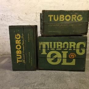 3 gamle Tuborg kasser i god stand.  Brugt til bog-reol. Kom med en bud..