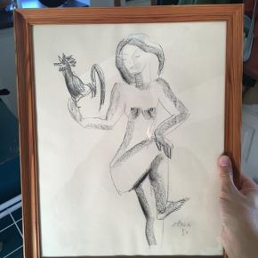 """Tegning af kvinde og hane signeret """"zilken 54"""" måler 40x33 cm med ramme  (ramme medfølger)"""