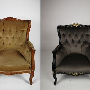 Lænestol, velour, Rokoko lænestol  Rokoko lænestol Med ny stof Kan levere po Sjalland Møbler restaurering, møbelrenovering