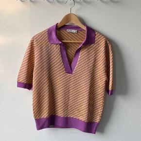 Zara Knit purple & yellow diamond pattern oversized polo shirt. Purple trims, size S. Perfect condition, never worn.