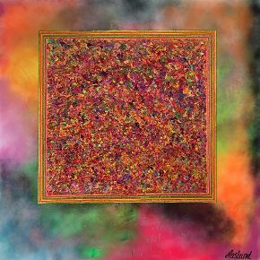 """Akryl på lærred. Måler 100 x 100 cm.  Maler er undertegnede, Helle Haslund.  Navn på maleri: """"colors in the box"""" Det er malet med mange forskellige varme farver. Rammen er malet med sort."""