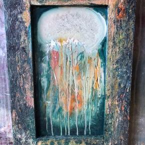 Gobbel malet i akryl på et gammelt spejl med kraftig træramme.  35x50 Maleriet er eget design.