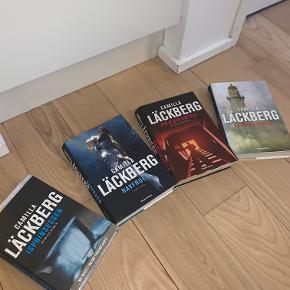 Fire Camilla Läckberg hardback bøger: Isprinsessen, Havfruen, Prædikanten og Fyrmester.   15 kroner stykket eller alle fire for en 50'er :-)