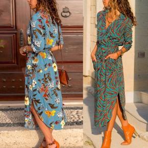Skjortekjole i eget design to forskellige mønstre. Med bindebånd i taljen