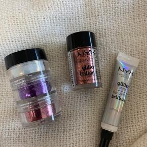 Sælger hele 4 pigmenter fra NYX i farverne, pink, lilla, hvid og Cooper og en lim beregnet til den slags pigmenter også fra NYX. De er aldrig brugt og er helt nye.   Kan købes samlet eller hver for sig.
