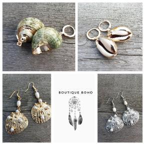 Nyheder ☀️ smukke øreringe med muslinger, perler I sølv eller guld.  Frit valg 120,- Husk at gå ind og se de mange andre smykker i butikken
