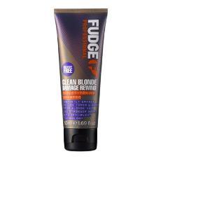 Fudge - Clean Blonde Damage Rewind Violet Shampoo, 50 ml. ~ Silver shampoo til hår der er farvet lyst.  Ca. 3/4 tilbage.  Fast pris.  Bytter og sender ikke.  Useriøse henvendelser frabedes.