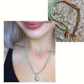 Mint farvet glasperler, 17K forgyldt guld musling skal vedhæng, 10K forgyldt guld dekorations perler 5mm, Låsvedhæng forgyldt guld  Aldrig brugt, Homemade. Byd genre en pris;)