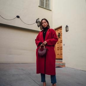 Mango red oversized wool coat size S. Like new. Nothing wrong  80% wool  First 2 pictures are not mine and are meant to be shown as a reference how it is worn :)