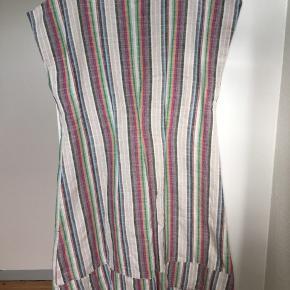 Super fin a-skæret vintage kjole i hør med multifarvede striber. Den har læg, fine snydelommer og er uden ærmer. Den er knælang (afhængig af din højde selvfølgelig). Den er formentlig fra 90'erne. Passer str S. Kom med et bud.  Varen befinder sig i 9520 Skørping. Sender med DAO.  Se også min øvrige annoncer. Jeg sælger tøj, sko og accessories. Pt er min shop fuld af vintagekup, high street fund og mærkevarer i mange forskellige str. Kig forbi og spøg endelig!