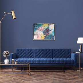 Nyt maleri i flot sølv ramme, med målene 84x64 cm (med ramme). Malet med akryl og spray 🎨 Blå hvid gul pink lyserød guld Pris er uden forsendelse. Tager også imod bestillinger efter egne farve- og størrelsesønsker 🍭🙏🏽 ROAR