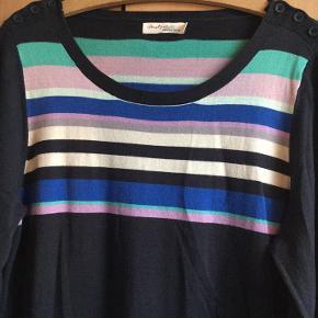 lækker strikkjole fra Jackpot str. XL i multifarver. selve kjolen er koksgrå/blågrå - med striber af farver på bryst / ryg. Knapper på skuldrer og striber ved ærmer. 60 % bomuld, 20 % viscose, 20 % polyamid bud fra 200 kr + evt. forsendelse  *Handel kan foregå kontant, via TS, bankkonto & Mobilepay*