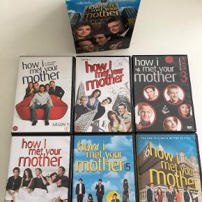 Sæson 1-6 af How I meet your mother på DVD. Alle 18 discs i pæn og ridsefri stand. Danske, svenske, norske, finske og engelske undertekster.