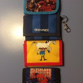 Børnepunge: avengers, spiderman, Beckmann fodbold, Pippi - se indvendigt billede, 15kr stk, 50kr samlet pris