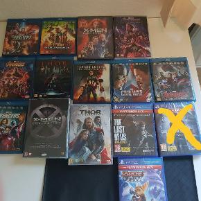 Sælger blandet marvel film og ps4 spil  Alle Xmen film er i emballage  Alle ps4 spil er i emballage  Alle avengers, Thor, guardians of the galaxy osv er kun set 1 gang    Byd gerne