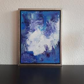 Akrylmaleri på lærred   Måler 30 × 40 cm  Hvis man ønsker det, fås det med ramme uden ekstra beregning. Da den er beskadiget.  Sender mod betaling af fragt.