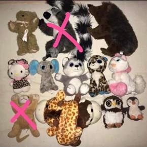 Sovedyr bamser tøjdyr   kitty 50   vaskebjørn 50  solgt  kat 50   bjørn 50 med glimmer øjne   Giraf abe vende dyr 75 med glimmer øjne   elefant 50 med glimmer øjne leopard 60 med glimmer øjne pindsvin 50   ugle 50   Løve 10 solgt