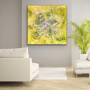"""Good Times"" Nyt maleri med målene 100 x 100 cm. Malet med akryl og spray 🎨 Gul guld sort hvid orange multi Pris er uden forsendelse. Tager også imod bestillinger efter egne farve- og størrelsesønsker 🍭🙏🏽 ROAR"